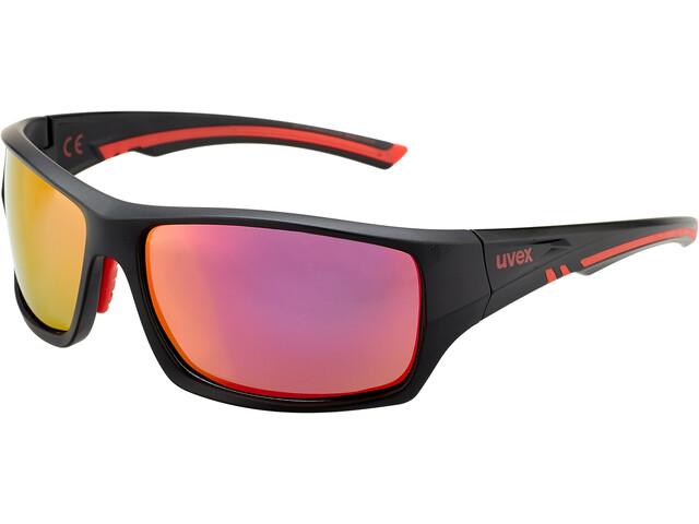 UVEX Sportstyle 222 Pola Gafas deportivas, black matt red/mirror red